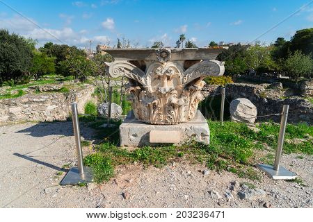 Remains of the Corinthian classic order column, The Ancient Agora of Classical Athens, Greece