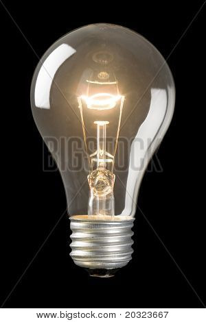 Light bulb on low isolated on a black background