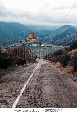Closeup view on the Jvari monastery. Mtskheta. Georgia