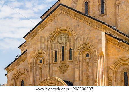Details of Sameba cathedral in Tbilisi Georgia