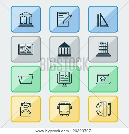 Education Icons Set. Collection Of Taped Book, Distance Learning, Document Case And Other Elements
