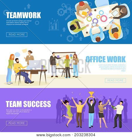 Teamwork horizontal banners set with office work symbols flat isolated vector illustration