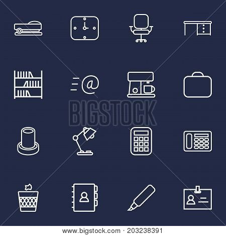 Collection Of Bookshelf, Marker, Pencil And Other Elements.  Set Of 16 Bureau Outline Icons Set.