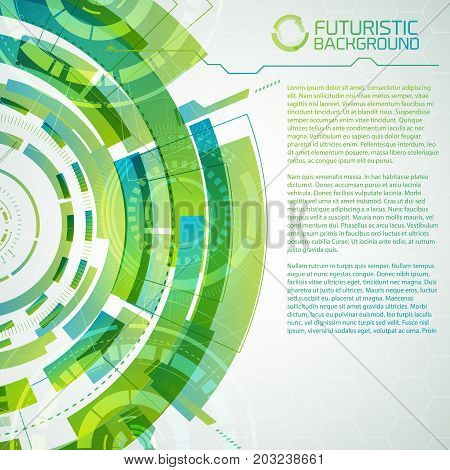 Modern virtual technology conceptual background with decorative futuristic circles touch interface elements and editable text vector illustration