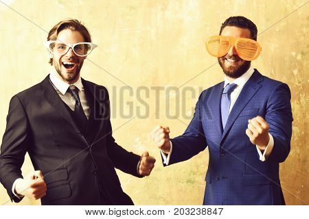 Sealing Deal Concept. Businessmen Celebrating Contract Conclusion