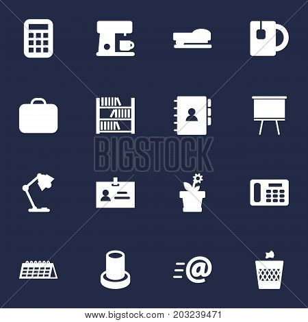 Collection Of Blackboard, Sew, Date And Other Elements.  Set Of 16 Bureau Icons Set.