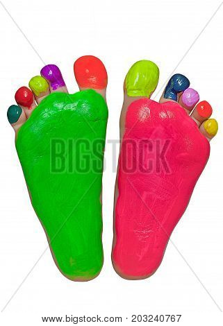 Baby feet in bright rainbow colors. Isolated on a white background.