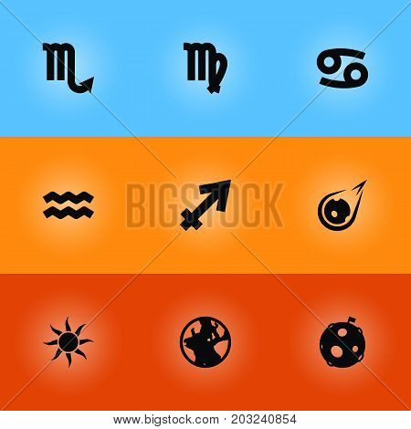 Collection Of Crab, Lunar, Archer And Other Elements.  Set Of 9 Horoscope Icons Set.