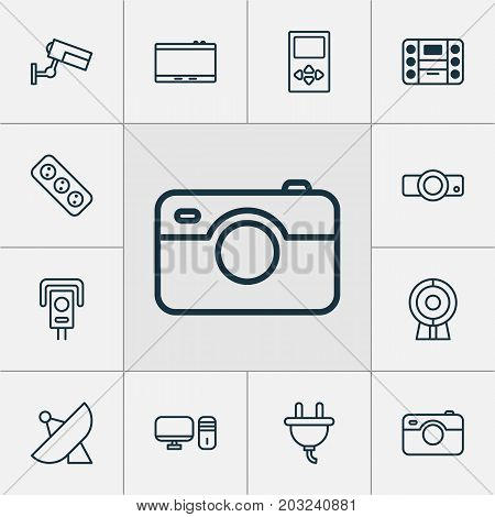 Hardware Icons Set. Collection Of Surveillance, Cctv, Personal Computer And Other Elements