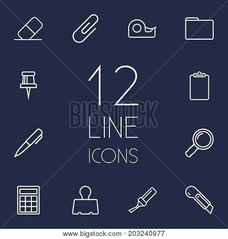 Collection Of Paper Clamp, Eraser, Binder Clip And Other Elements.  Set Of 12 Stationery Outline Icons Set.