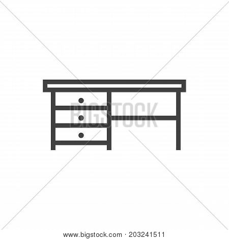 Vector Desk Element In Trendy Style.  Isolated Worktop Outline Symbol On Clean Background.