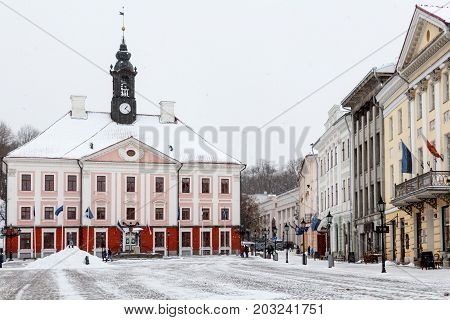 Pink Baroque Town Hall in Tartu main square in winter