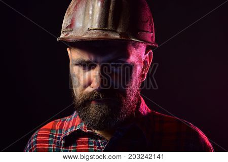 Labour And Heavy Industry Concept. Man With Strict Face