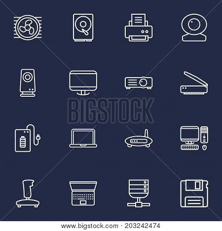 Collection Of Modem, Hdd, Cooler And Other Elements.  Set Of 16 Notebook Outline Icons Set.