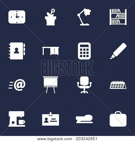 Collection Of Message, Sew, Data And Other Elements.  Set Of 16 Bureau Icons Set.