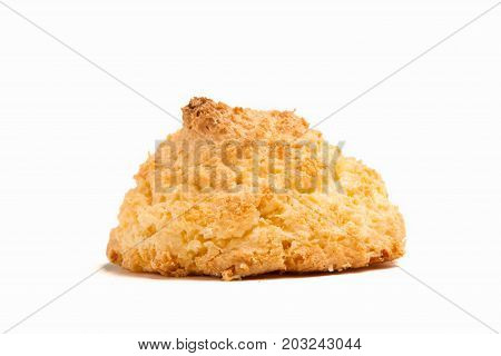 Delicious spanish coconut meringue cookies (coconut macaroons or sultanas de coco) isolated on white background