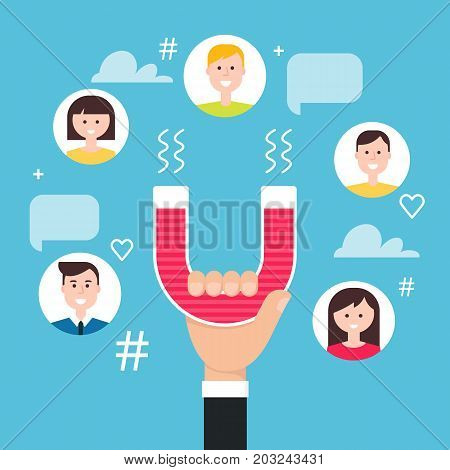 Hand with Magnet Engaging Followers. Social Media Marketing Concept. Vector Illustration.