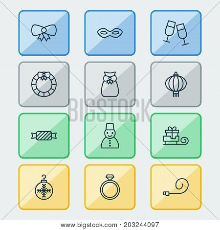 New Icons Set. Collection Of Butterfly Knot, Sweet, Toboggan And Other Elements