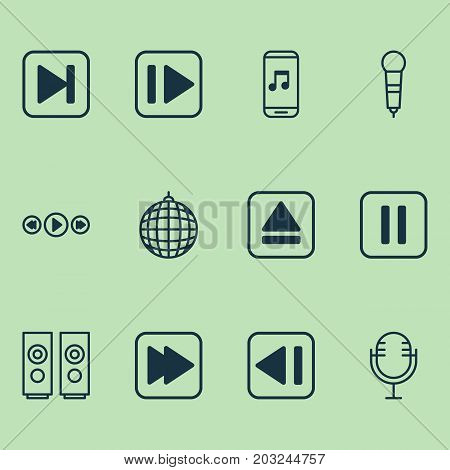 Music Icons Set. Collection Of Mike, Skip Song, Extract Device And Other Elements