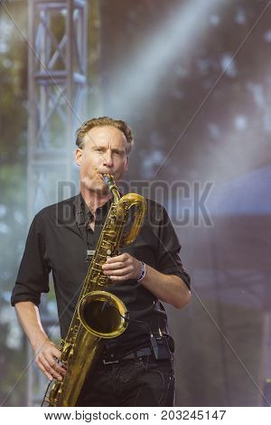 Minsk Belarus-August 12 2017: Saxofonist Marcus Bartelt of World Renowned Jazz Ensemble De-Phazz Performing at A-Fest Music Festival on August 12 2017 in Minsk Republic of Belarus.