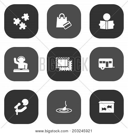 Collection Of Caravan, Rod, Learning And Other Elements.  Set Of 9 Hobbie Icons Set.