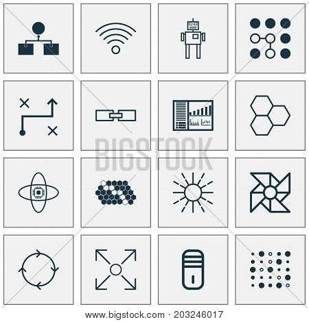 Robotics Icons Set. Collection Of Information Components, Mainframe, Computing Problems And Other Elements