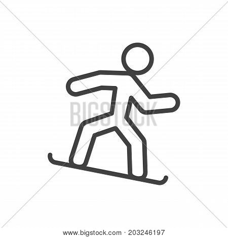 Vector Snowboard Element In Trendy Style.  Isolated Snowboarding Outline Symbol On Clean Background.