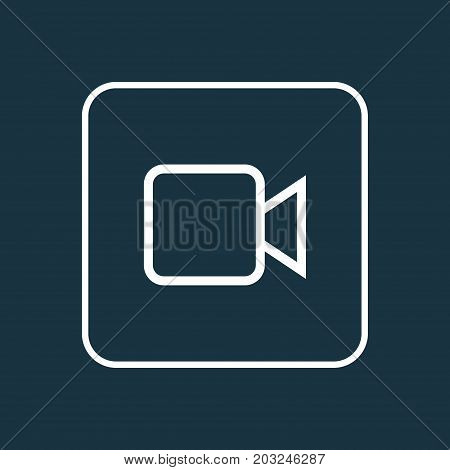 Premium Quality Isolated Video Element In Trendy Style.  Camcorder Outline Symbol.