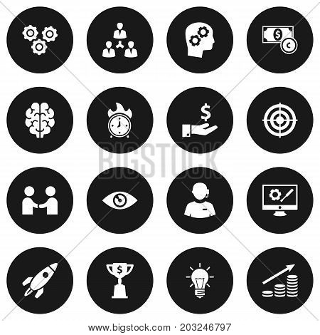 Collection Of Money Growth, Goblet, Call Center And Other Elements.  Set Of 16 Idea Icons Set.