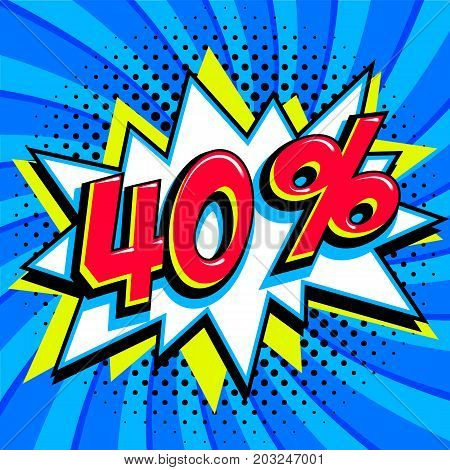 Blue sale web banner. Sale forty percent 40 off on a Comics pop-art style bang shape on blue twisted background. Big sale background. Pop art comic sale discount promotion banner. Seasonal discounts, Black Friday, the interest rate, etc. Perfect for tags