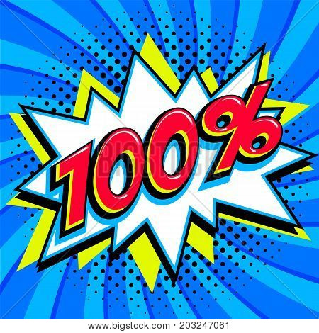 Blue sale web banner. Sale one hundred percent 100 off on a Comics pop-art style bang shape on blue twisted background. Big sale background. Pop art comic sale discount promotion banner. Seasonal discounts, Black Friday, the interest rate, etc. Perfect fo