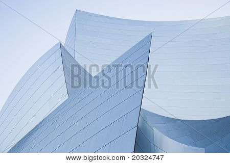Architectural abstract of stainless steel walls.