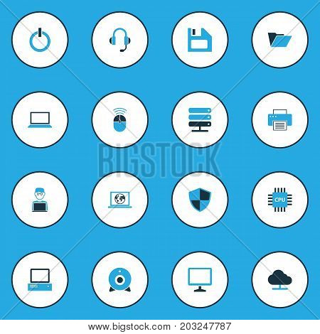 Hardware Colorful Icons Set. Collection Of Notebook, Earphones, Control And Other Elements