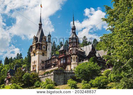 Sinaia Romania - june 21 2017: Peles castle at Sinaia town in Romania summer residence of Romanian royal family.