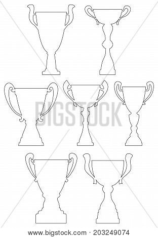 Champion cup set in thin line style. Championship prize for first place. Victory symbol. Vector illustration.