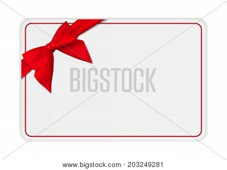 Blank Gift Card Template with Bow and Ribbon. Vector Illustration for Your Business EPS10