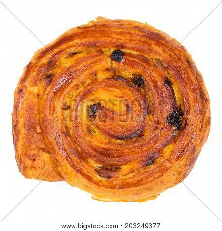 Raisin bun. Bun with raisins and vanilla cream close-up isolated on white background. Macro shot. Pain aux raisins