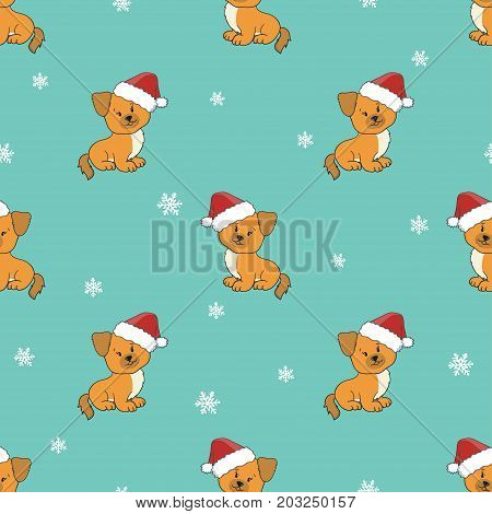 Seamless Christmas pattern with cute puppies in Santa hats. Vector holiday background.