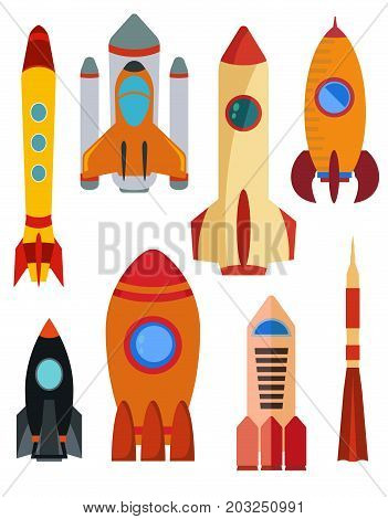 Set of vector space rocket ship. Eight rocket isolated on white background. Vector illustration.