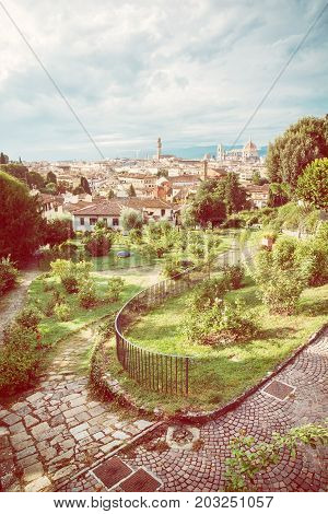 View from Giardino delle Rose to the city of Florence. Tuscany Italy. Yellow photo filter. Beautiful travelling scene.