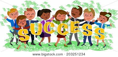 Happy successful exulting business people with lot of money cash vector illustration