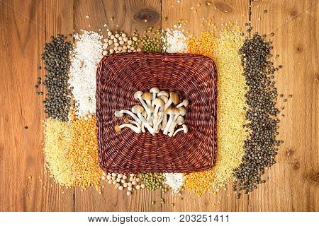 Collection Raw Cereal Beens On Wooden Background. Couscous, Yellow And Green Lentils, Mung Beans, Ch
