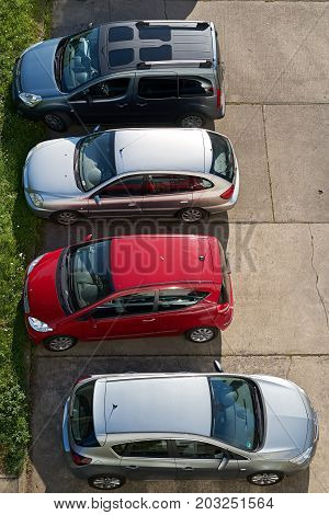 MAGDEBURG, GERMANY - AUGUST 29, 2017: Cars on a parking lot in the city center of Magdeburg. Due to the increasing traffic in the city center is difficult to find a parking lot