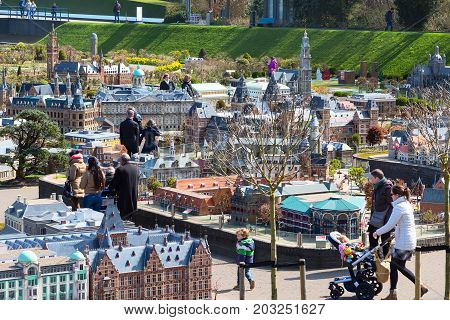Hague, Netherlands - April 8, 2016: Panoramic view of Madurodam, Holland miniature park and tourist attraction in Hague, Netherlands
