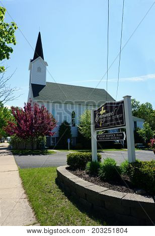 PETOSKEY, MICHIGAN / UNITED STATES - MAY 27, 2017: The Emmanuel Evangelical Church offers non-denominational worship services in Petoskey.