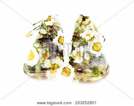 Spring natural shoes isolated on the white background. Double exposure effect. Symbolic concept.