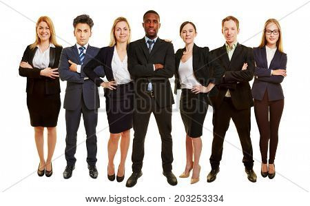 Successful business team stand together as group
