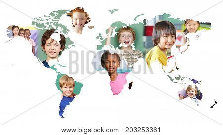 Multicultural world map with many different kids as integration concept