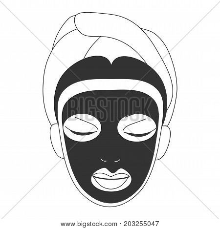 Vector illustration for face care in line art style: woman face with black clay or detox bubble mask on. Black facial mask could be volcanic, carbonated or clay one for detox, exfoliating or whitening