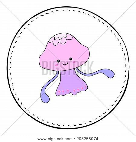 Jellyfish isolated on white background. Girl jellyfish cartoon vector illustration. Underwater princess handdrawn patch. Cartoon fish drawing. Nursery clip art with tropical sea animal. Marine fauna